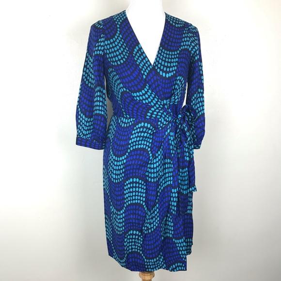 Boden Dresses & Skirts - Boden Blue Aqua Polka Dot Wrap Dress 4 A17